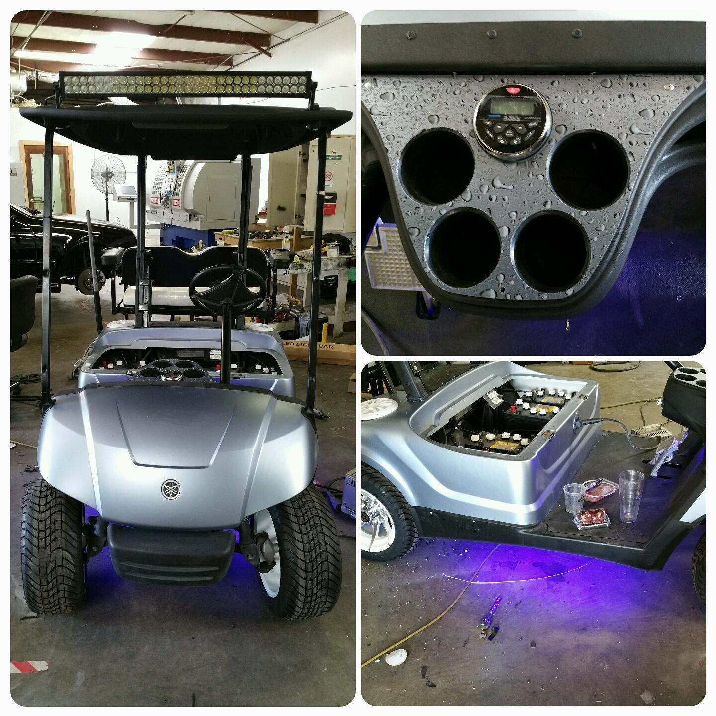 BOSS marine radio with USB and Bluetooth , two BOSS marine speakers, and red LED lights on this golf cart.