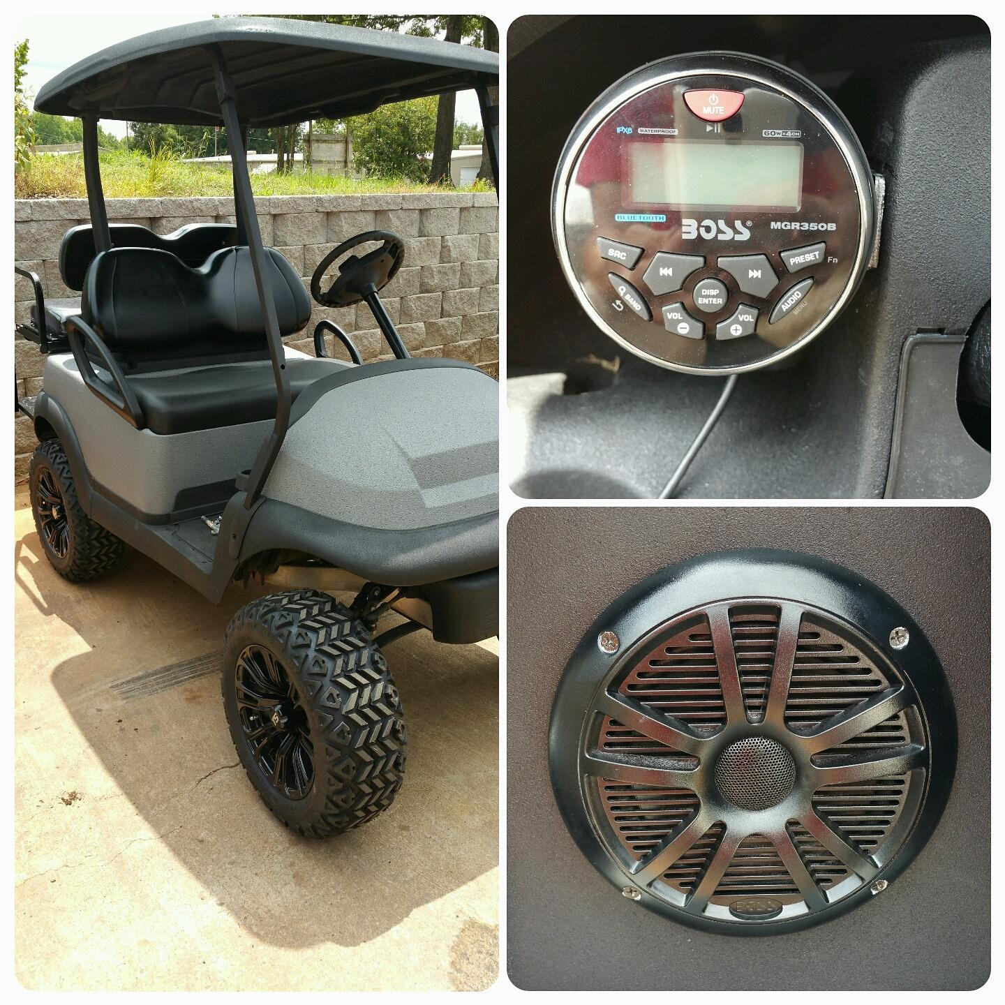 BOSS marine radio with USB and Bluetooth , two BOSS marine speakers, and red LED lights on this golf cart